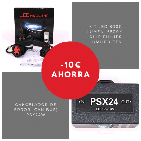 Pack bombillas Led PSX24Wde 8000 lumen + Cancelador (Can Bus)