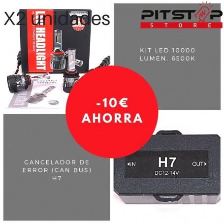 Pack bombillas Led H7 de 10000 lumen + Cancelador (Can Bus)