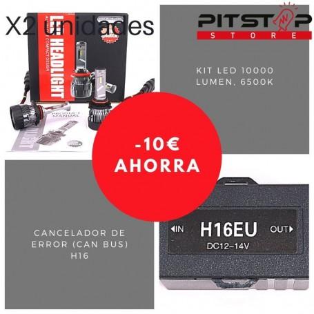 Pack bombillas Led H16 de 10000 lumen + Cancelador (Can Bus)