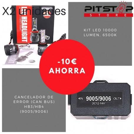 Pack bombillas Led HB3 (9005) de 10000 lumen + Cancelador (Can Bus)