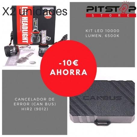 Pack bombillas Led HIR2 (9012) de 10000 lumen + Cancelador (Can Bus)