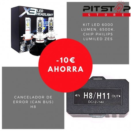 Pack bombillas led H8 de 6000 lumen + Cancelador (Can Bus)