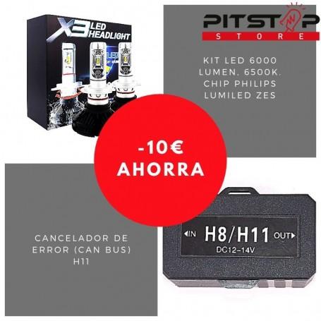 Pack bombillas led H11 de 6000 lumen + Cancelador (Can Bus)
