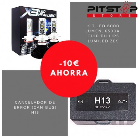 Pack bombillas led H13 de 6000 lumen + Cancelador (Can Bus)
