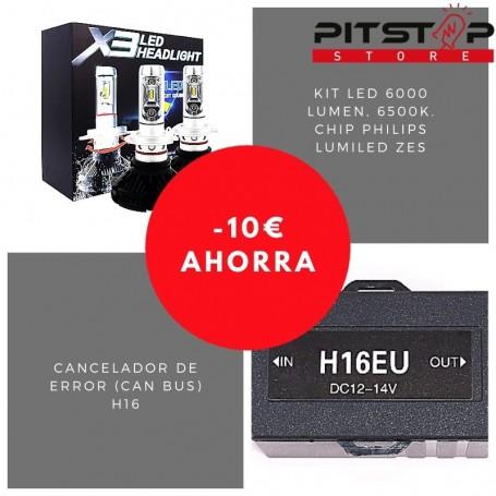 Pack bombillas led H16 de 6000 lumen + Cancelador (Can Bus)