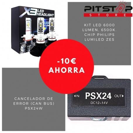 Pack bombillas led PSX24W de 6000 lumen + Cancelador (Can Bus)