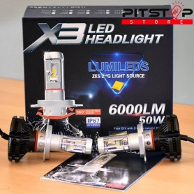 Bombillas Led H4 6000 lumen, 6500k