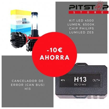 Pack bombillas led H13 de 4500 lumen + Cancelador (Can Bus)
