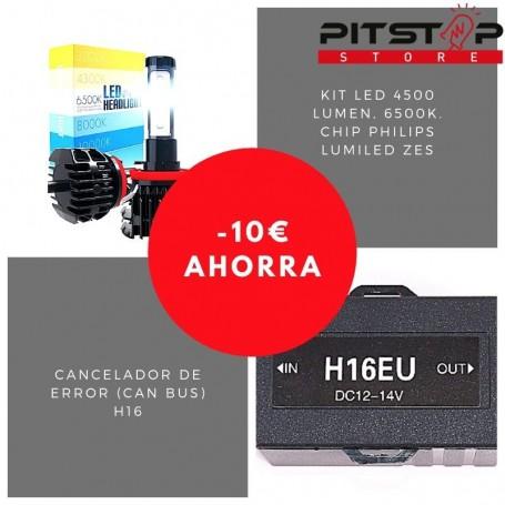 Pack bombillas led H16 de 4500 lumen + Cancelador (Can Bus)