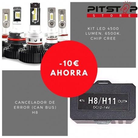 Pack bombillas led H8 de 4500 lumen + Cancelador (Can Bus)