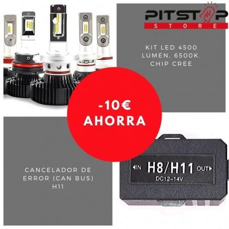 Pack bombillas led H11 de 4500 lumen + Cancelador (Can Bus)
