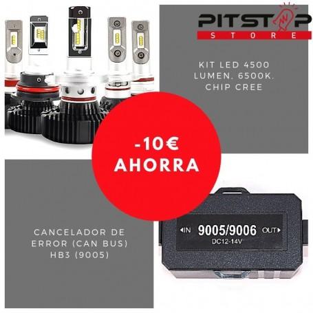 Pack bombillas led HB3 (9005) de 4500 lumen + Cancelador (Can Bus)