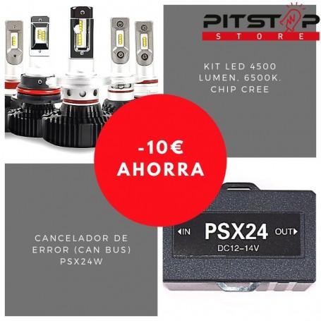 Pack bombillas led PSX24W de 4500 lumen + Cancelador (Can Bus)
